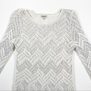 Lucky Brand Silver Tinsel Lined Knit Sweater EUC
